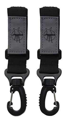 LÄSSIG Kinderwagenbefestigung (2 Stk.) Klettverschluss Haken Kinderwagenhaken Einkaufshaken Metall/Stroller Hooks Metal, schwarz