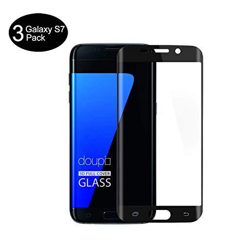 AMNIE [3 Stück Panzerglas Schutzfolie für Samsung Galaxy S7, 9H Härte, HD Anti-Öl, Kratzer, Blasen und Fingerabdruck, Einfaches Anbringen, Displayschutzfolie für Samsung Galaxy S7 - Schwarz