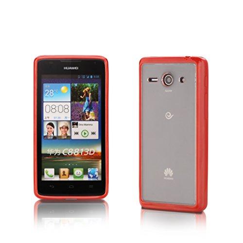 Huawai Ascend Y530 | iCues TPU Bumper mit Klare Rückseite Case Rot | [Display Schutzfolie Inklusive] Transparent Klarsichthülle Durchsichtig Klare Klarsicht Silikon Gel Schutzhülle Hülle Cover Schutz