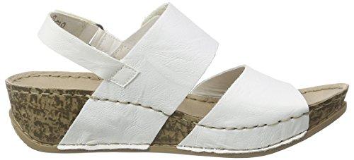 Rieker 69272 Women Open Toe, Sandales ouvertes à talon compensé femme Blanc - Weiß (weiss / 80)