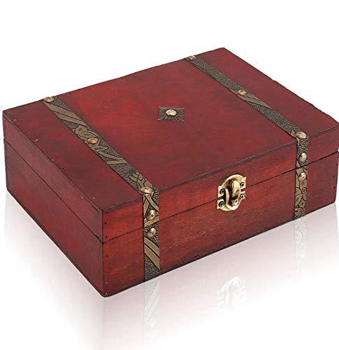 Tropicalboy scrigno del tesoro vintage bauletto stile antico per accessori gioielli oggetti di valore cassaforte in legno idea regalo decorativa 23x16x7.5cm