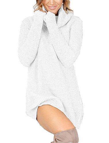 LemonGirl Damen Rollkragen Pullover mit langen Ärmeln Kleid (Mens Golf Shirt Stricken)