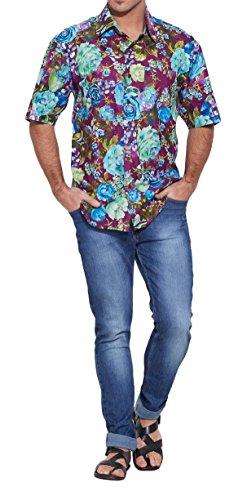 ShalinIndia hommes de plage en coton imprimé Shirt manches demi avant Pocket Multi_177