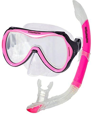 AQUAZON CAPRI Hochwertiges Schnorchelset, Tauchset, Schwimmset, Schnorchelbrille mit Tempered Glas, Schnorchel mit Semi Dry top für Kinder, Jugendliche Von 7-14 Jahren , Farbe:pink