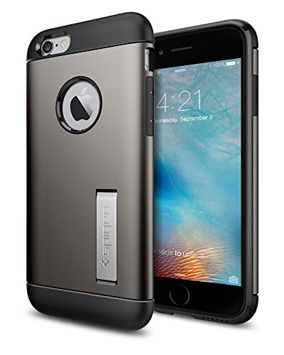 Spigen iPhone 6S Cover, Cover iPhone 6S [Slim Armor] Angoli Tecnologia a cuscino d'aria [Gunmetal] Slim Fit Dual Layer Kick-Stand Protezione, Custodia Apple iPhone 6/iPhone 6S (SGP11605)