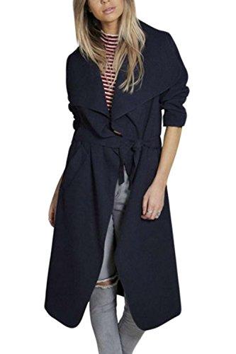 La Femme Élégante Veste À Manches Longues Impers Revers Enserrant La Taille Maxi blue