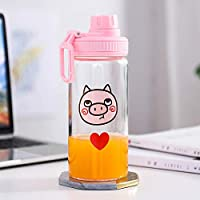 Glass Portable Outdoor High Borosilicate Transparent Water Cup Large 500ml Love (Large)