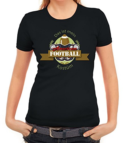 Imperial Women T-Shirt Football American Football Kostüm T-Shirt für NFL Superbowl Fans, Größe: L,Schwarz