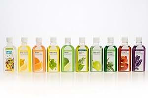 Hochwertiges Sauna Aufguss Set VI, 10 x 100 ml, Konzentrat / Westpaket, Zitrone, Birkenreisig, Orange, Bratapfel, Konifere-Birke, Limette, Grüner Apfel, Konifere-Eukalyptus, Lavendel
