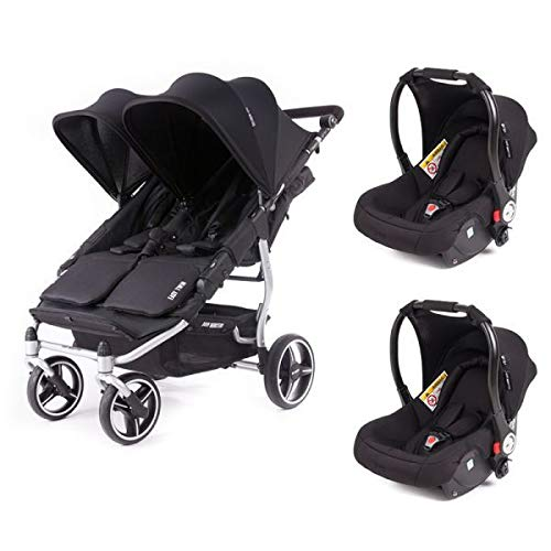 Poussette double Baby Monsters Easy Twin 3S Reversible - Chassis Silver + 2 sièges auto Luna Noir