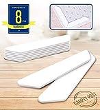 Teppichunterleger (8pcs) - Beste Anti Curling & Non Slip Teppichgreifer Anti Rutsch Teppichband, Stop Rutschen, wiederverwendbar für verschiedene Böden und Teppich-Pads (weiß)