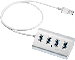 Amazonbasics Usb 3.1 Type-a To 4-port Aluminum Hub, Silver