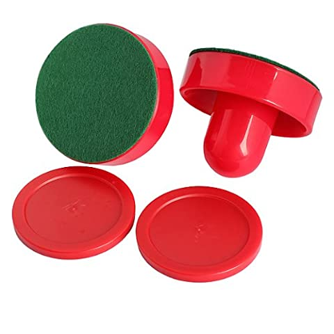 Tenflyer Pack of 2 Air Hockey Table Felt Pusher 75mm with 2pcs 63mm Puck Mallet Goalies