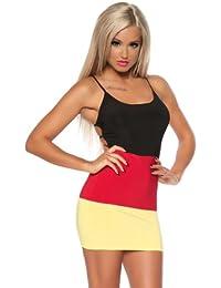 Sexy Damen Kleid Minikleid Mini-Kleid in den Farben der Deutschland-Flagge Fußball WM (XS)