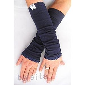 Armstulpen, lang - marine mit elastischer Borte