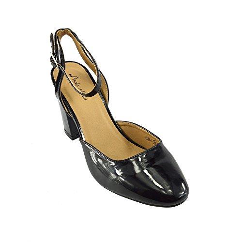 Kick Footwear - DONNA COURT SCARPE DA LAVORO D'UFFICIO SCOLASTICO FORMALE BLOCCO DI TACCO NERO SCARPE Nero Con Cinturino Alla Caviglia