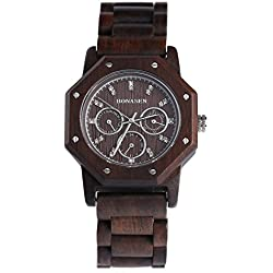 BS ® Retro Handmade Wooden Wrist Watch Analog Quartz Movement Day Date Function With Natural Wood BNS-180A