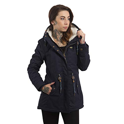 Ragwear Damen Wintermantel Parka Monadis, Navy, S - 2