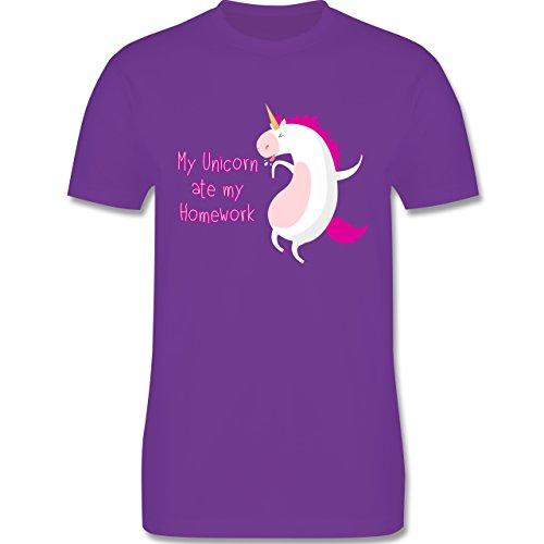 Comic Shirts - My unicorn ate my homework - Herren Premium T-Shirt Lila