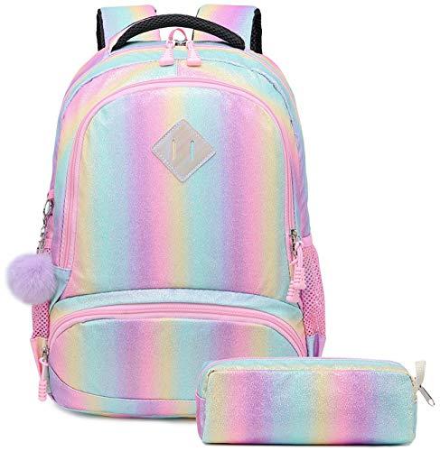 Mädchen Regenbogen Glitter Rucksack - niedliche Kinder Vorschule Rucksack leichte Reiserucksack schöne lässige Daypack Geschenk für Mädchen (Regenbogen)
