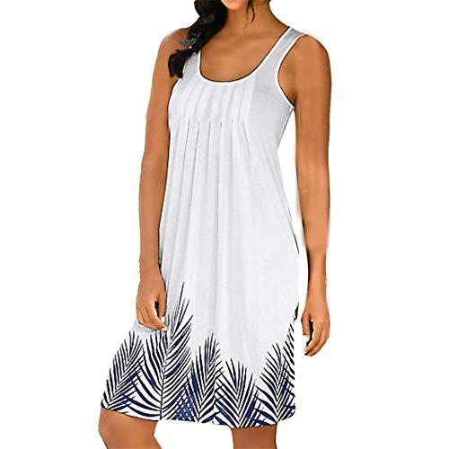Damen ärmelloses Kleid weibliche Trägershirt Kleid Mode Druck Mode Kleid Damen Urlaub über dem Knie Minikleid Spring Moonuy (Weibliche Kostüm Biene)