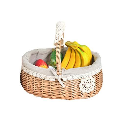 ker handgewebten Picknickkorb, Einkaufskorb, kreative Heimat Ablagekorb, Outdoor-Korb Ablagekorb, Einkaufskorb (Size : L) ()