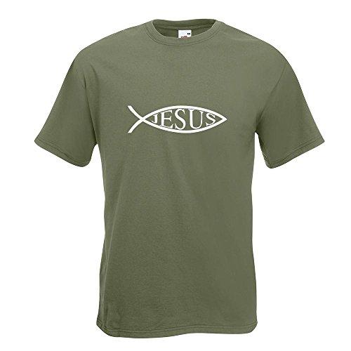 KIWISTAR - Jesus Fisch T-Shirt in 15 verschiedenen Farben - Herren Funshirt bedruckt Design Sprüche Spruch Motive Oberteil Baumwolle Print Größe S M L XL XXL Olive