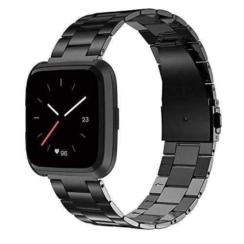Wearlizer für Fitbit Versa Armband, Edelstahl Ersatzband Armbänder für Fitbit Versa Special Edition Klein Groß - Schwarz - Faltschließe Fitbit-armband