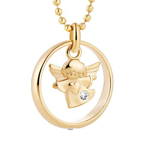 fish Mädchen Hals-Silberkette Gold Beschichtet Schutzengel-Anhänger Taufring Taufgeschenk Geschenkverpackung Christliche Geschenke 11