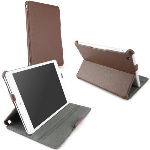 BoxWave Apple iPad mini mit Retina und iPad Mini 1. Gen. Leder Book Jacket Schutzhülle-Schutzhülle Premium Qualität Slim Vegan Leder Book Case Cover mit verstellbare integrierte Ständer (Classic braun) (Ipad Mini Retina Case-portfolio)