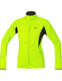 GORE WEAR Essential Windstopper Active Shell Partial Chaqueta, Mujer, Amarillo Neón (Neon Yellow
