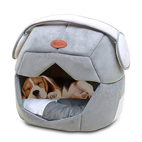 KOBWA Katze Hundehöhle Bett Pet House Waschbar Hundehöhle Warm Bed Space Cap Abnehmbare Kissen Wasserdicht Bottom Kleine Haustier mit abnehmbaren Haus Oben und Kissen Mat