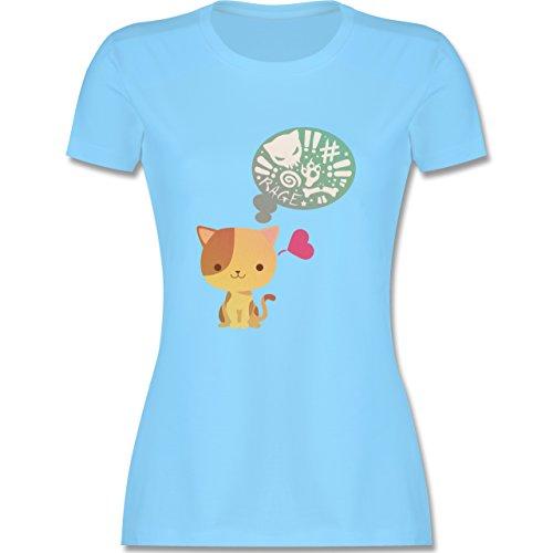 Katzen - Süße Katze Mordlust - tailliertes Premium T-Shirt mit Rundhalsausschnitt für Damen Hellblau