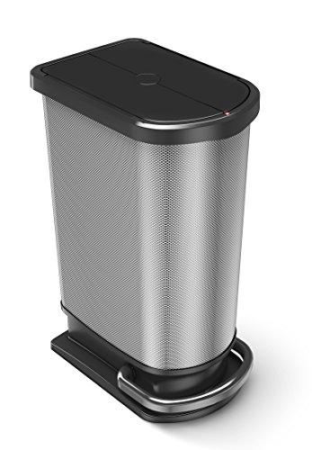 Rotho 1166410273 Mülleimer Mono Paso, Inhalt 50 L, Metall-Optik, mit Tretmechanismus,Circa 44 x 29 x 67 cm, Carbon Look Metallic (60l Korb)