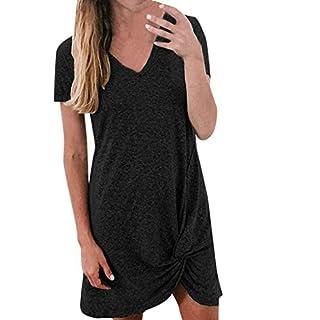 BaZhaHei Summer Short Sleeve Mini Dress Ladies Casual Party Dress Knotted V-Neck T-Shirt Dress Plain Simple Tank Tops Black