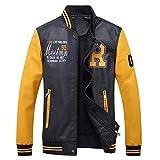 Newbestyle Jacke Herren Lederjacke Mantel mit Zip und Stehkragen Parka Militär Outdoorjacke Cool Leather Baseball Jacket Patchwork Coat Gelb XL