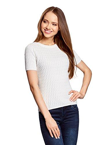 oodji Ultra Damen Kurzärmliger Pullover mit Zopfmuster, Weiß, DE 42 / EU 44 / XL