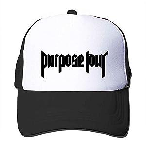 Feruch Custom Justin Bieber Purpose Tour Classical Logo Trucker Hat Orange Sun Hat Black