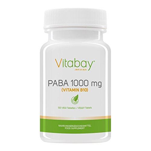 PABA - ácido para-amino-benzoico - dosis alta con 1000 mg - vegano - Hecho en Alemania (120 tabletas veganas)