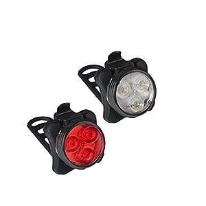 41yXbCqgoJL. SS300 Collory, Set lampade e batteria, 3LED, inclusocaricatore, ricaricabili tramite micro USB, luci per passeggino, sedia a rotelle, impermeabili e facili da installarea incastro, attacco in silicone