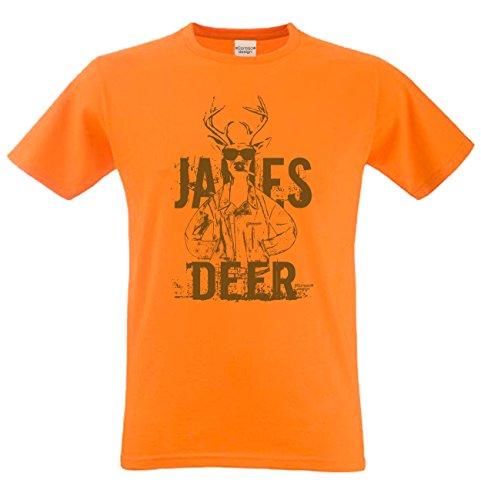 Herren-Trachten-Wiesn-Motiv-Fun-T-Shirt James Deer auch in Übergrößen 3XL 4XL 5XL Farbe: orange Orange