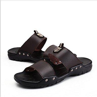 Slippers & amp da uomo;Estate Autunno Comfort microfibra casuale Heel Flat Black Giallo Marrone Sanda sandali US7.5 / EU39 / UK6.5 / CN40