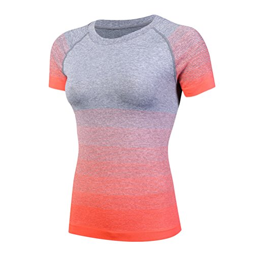 Zhhlaixing Womens Gym Sports Shirt Yoga Tops Fitness Quick Dry Short sleeves T-Shirt Orange