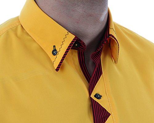 Designerhemd in Eigelb, für Herren BESTE QUALITÄT, HK Mandel Schönenhemd Langarm Normal Nicht Tailliert, 3068 Eigelb