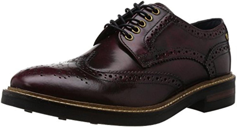 Base London Woburn Hi Shine Bordo Hombres Cuero Formal Brogue Zapatos Botas