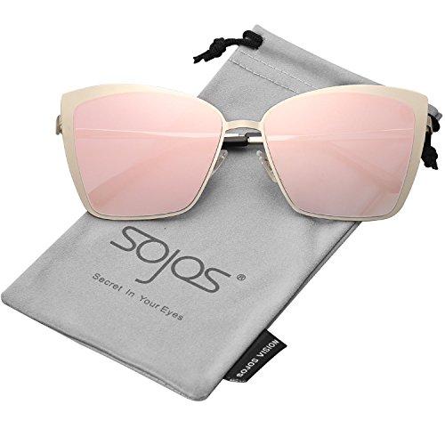 SOJOS Sonnenbrille Rechteckig Katzenaugen Neue Modell Flach Linsen Groß SJ1086 mit Gold Rahmen/Rosa verspiegelt Linse