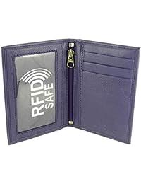 Slimline suave piel cartera para tarjetas de crédito/ID de viaje/soporte con sujeción de Twin Windows