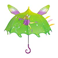 Kidorable Green Fairy Umbrella for Girls w/Fun Magic Wand Handle, Pop-Out Wings, Fairy Dust, 1 Size