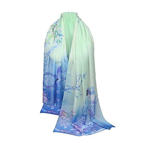 Emorias 1 Pcs Schal aus Gaze Urraca Pfingstrose Muster Sven Mode DAMA Elegant Frühling Winter Schal - Blau Cashmere-gaze