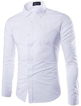 DianShao Uomo Casual Tinta Unita Camicia Slim Fit Manica Lunga Bluse